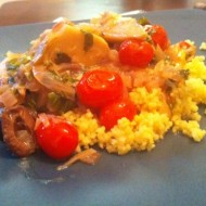 Mediterranean Chicken Over Saffron Couscous