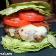 "Chicken Cordon Bleu Burgers on Lettuce ""Buns"""