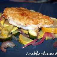 Garlic Hummus Crusted Chicken with Zucchini & Squash