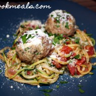 Zucchini Spaghetti and Meatballs