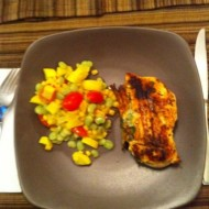 Chicken Stuffed with Arugula & Pepperjack Cheese with a Side of Succotash