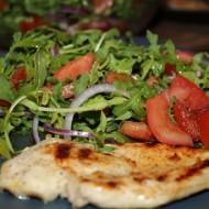 Grilled Chicken Paillard & Tomato Arugula Salad