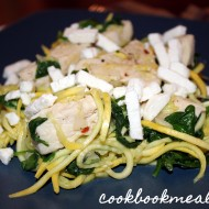 Squash Noodles with Chicken, Feta, and Spinach