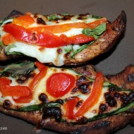 Balsamic Grilled Chicken with Spinach, Mozzarella, & Peppers