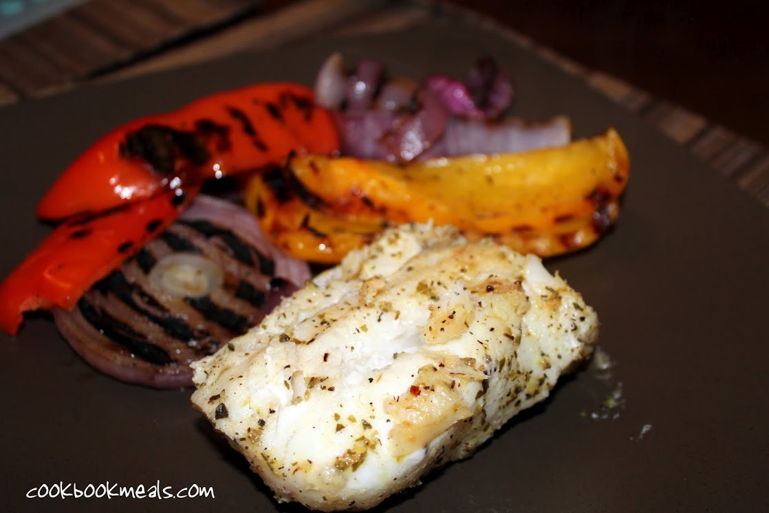 Grilled cod with peppers onions for Grilled cod fish recipe