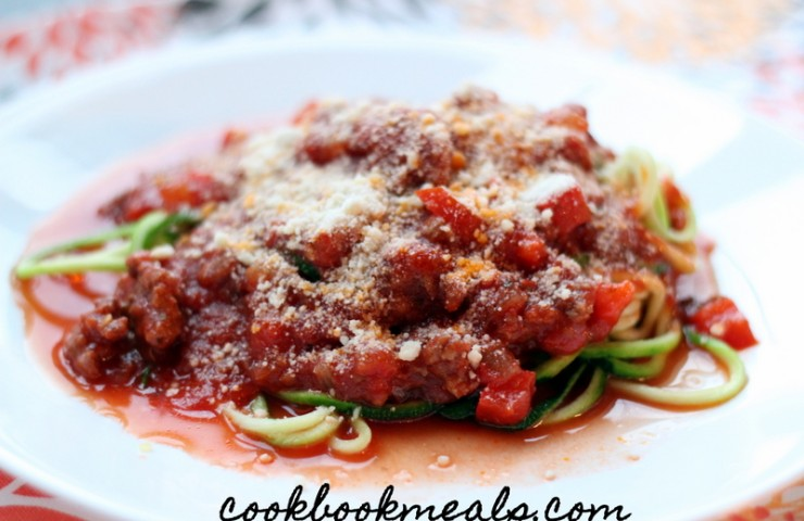 Slow Cooker Meat Sauce with Zucchini Noodles
